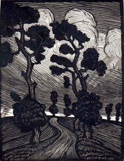 Albert Larsen: (Dramatic landscape), woodengraving; 1923
