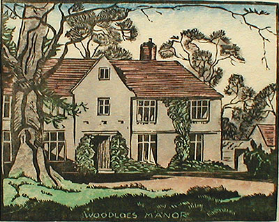 "E. Garrett Rice: ""Woodloes Manor"", color woodcut; 1931"