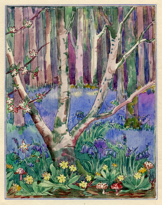 Marta Bowerly: Untitled (Spring meadow), watercolor and ink; ca. 1920