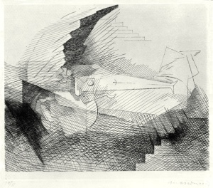 "Louis Marcoussis: ""Celle que J'amais seul m'aime encore... (from: Planches du Salut)"", 1931; etching, printed chine colle. $3,500"