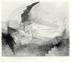 """Louis Marcoussis: """"Celle que J'amais seul m'aime encore... (from: Planches du Salut)"""", 1931; etching, printed chine colle. $3,500"""