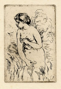 """Pierre Auguste Renoir: """"Baigneuse Debout, a Mi-Jambes"""", 1910 (this impression printed later); etching. $1,500"""