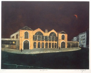 "Jean Jacques Jo Rigal: ""Montparnasse"", circa 1980; etching and color aquatint. $400"