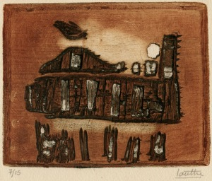 "Marc-Antoine Louttre: ""La Locomotive d'Enfer"", circa 1960; color intaglio. $450"