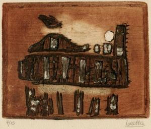 "Marc-Antoine Louttre: ""La Locomotive d'Enfer"", circa 1960; color intaglio. $450"