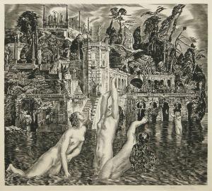 """Albert Decaris: """"Isola Bella and Naiads"""", circa 1930; engraving. $2,000"""