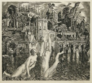 "Albert Decaris: ""Isola Bella and Naiads"", circa 1930; engraving. $2,000"