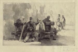 """Auguste Brouet: """"Les Blesses (Parc de Saint-Cloud) / The Wounded (Saint-Cloud Park)"""", c. 1914; roulette with drypoint. $400"""