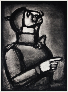 "Georges Rouault: ""Plus le coeour est noble, moins le col est roide"", 1926 (published 1948); aquatint, etching, drypoint, and roulette over heliogravure. $1,500"