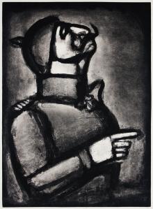 """Georges Rouault: """"Plus le coeour est noble, moins le col est roide"""", 1926 (published 1948); aquatint, etching, drypoint, and roulette over heliogravure. $1,500"""