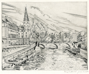 """Joesph Hecht: """"Palais de Justice (plate 7 from the Paris portfolio of 11 engravings)"""", 1933/1935; burin engraving. $500"""