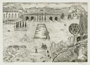 "Roger Vieillard: ""Jardens )a.k.a.: Prairies heureuses)"", 1945; engraving. $750"