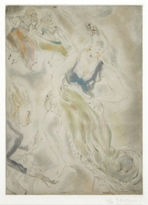 """Jules Pascin: """"Cinderella (from the portfolio """"Cendrillon"""")"""", 1929; color softground etching and aquatint. $2,000"""