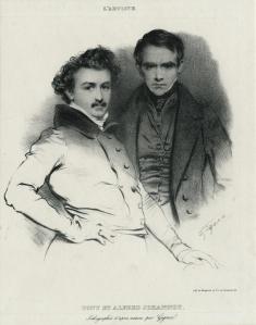 """Jean Gigoux: """"Tony et Alfred Johannot, Lithographies d'apres nature par Gigoux"""", 1932; lithograph. $750"""