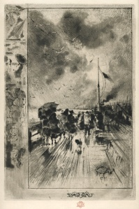 """Felix Buhot: """"Une Jetee en Angleterre (Pier in England)"""", 1879; etching, drypoint, and roulette. $5,000"""