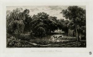 """Charles-Fancois Daubigny: """"Le Mare aux Cers"""", 1845; etching. $700"""