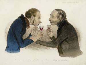 "Honore Daumier: ""Oui! Oui! C'est entendu, je comprends! (Yes! Yes! It's a deal, I understand!)"", 1838-1839; hand-colored lithograph, sur blanc."