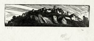 "Edward Gordon Craig: ""Town on a Hill"", 1907/1925; woodengraving. $425"