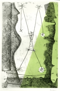 "Roland Penrose: ""Bon Jour Max Ernst"", 1976; color soft-ground etching. $800"