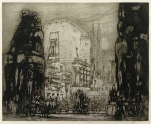 "William Walcot: ""At Thebes"", circa 1914; etching, drypoint, and aquatint, printed in brown/black ink. $5,000"