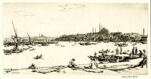 "Muirhead Bone: ""Constantinople"", 1934; drypoint. $500"