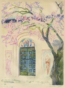 "Ada Shrimpton Giles: ""Flowering Tree in Front of Gate"", circa 1920; color metal relief print. $1,200"