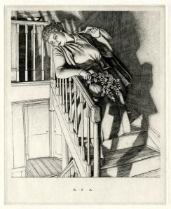 "Robert Austin: ""Girl on Stairs"", 1937; etching. $1,200"