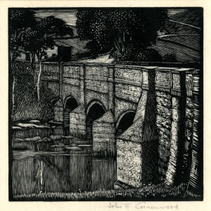 "John Greenwood: ""Grassington Bridge, Morkshire"", circa 1924; woodengraving. $225"