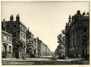 "Ian Strang: ""Harley Street (London)"", 1927; etching. $600"