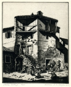 "William E.C. Morgan: ""Italian Cottage"", 1928; drypoint. $350"