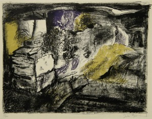 "John Piper: ""Stone Wall - Anglesea"", 1949; color lithograph. $1,800"