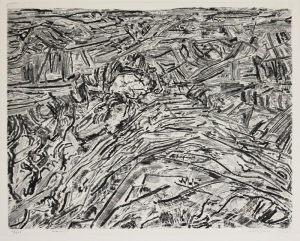 "Anthony Gross: ""Summit (Spur with Valley)"", 1957; etching and engraving. $700"
