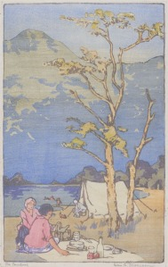 "Helen G. Stevenson: ""The Campers"", circa 1920; color woodcut. $1,000"