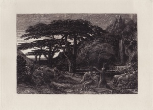 "Samuel Palmer: ""The Cypress Grove"", circa 1880; etching. $1,200"