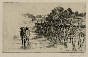 "Francis Seymour Hayden: ""The Village Ford"", 1881; etching with drypoint. $900"