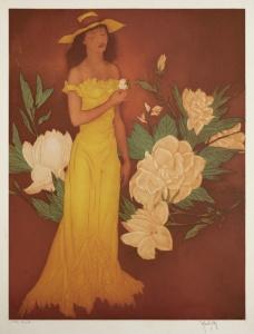 """John Kelly: """"Pua Olua""""; ca. 1935; color aquatint; $7,000"""