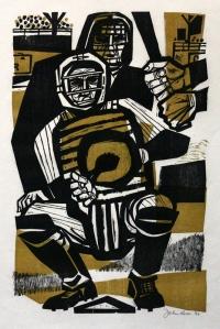 John Ross: Baseball; 1960; two color woodcut; $600.