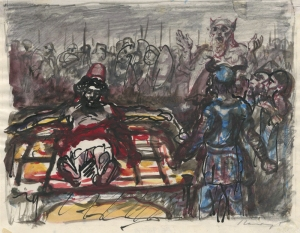 Max Slevogt: Untitled (Battle scene): about 1900; pencil, ink and watercolor; $1,000.