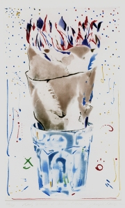 Joseph Goldyne: Red, White and Blue Floral; 1982; color drypoint and aquatint; $1,250.