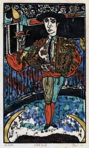 Ted Davies: The Matador; 1962; color woodcut with gold leaf; $350.