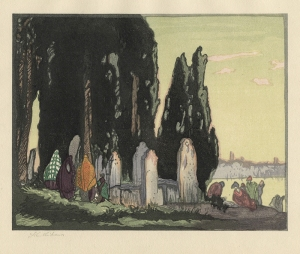 Yoshijiro Urushibara: The Resting Place - Scutari (in collaboration with Frank Brangwyn); 1924; color woodcut; $400.