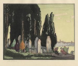 Yoshijiro Urushibara: The Resting Place - Scutari (in collaboration with Frank Brangwyn); 1924; color woodcut; $400.