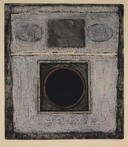 George Miyasaki: Presentation #2; 1964; mixed technique color collograph; $750.