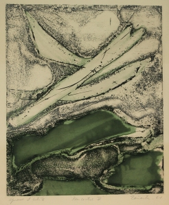 Enrique Zanartu: Rencontre V; 1961; mixed technique color intaglio; $500.
