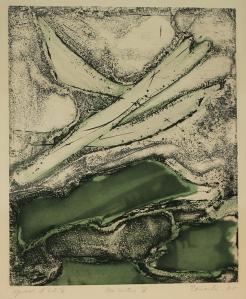 Enrique Zanartu: Rencontre V; 1961; mixed technique color intaglio; $500.