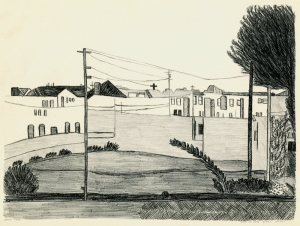 Jennie Lewis: Scene on Sand Dunes San Francisco California; about 1938; lithograph; $300.