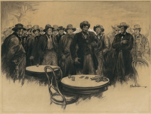Raeburn Van Buren: No Lip Uttered a Syllable. No Hand Moved. Amazement Had Changed the Gath Men Into Stone; 1926; charcoal, ink and white gouache highlights; $1,500.