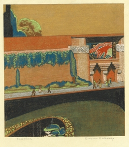 Barbara Thomas Haddaway: Palace of Industry, California Pacific International Exposition, Balboa Park, San Diego; 1935; pastel; $300.