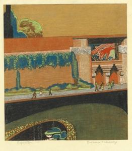 Barbara Thomas Haddaway: Palace of Industry, California Pacific International Exposition, Balboa Park, San Diego; 1935; pastel; $300.