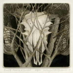 Elizabeth Quandt (English/American: 1922-1994): Aries IV: Ram in a Thicket; 1978; etching; $600.